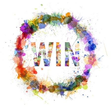 Win concept, watercolor splashes as a sign isolated on white photo