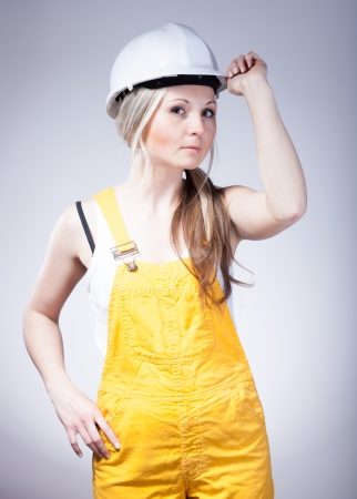 craftswoman: Young builder craftswoman construction worker Stock Photo