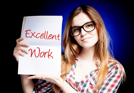 excellent work: Excellent work, school exam and happy, proud woman Stock Photo