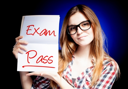 passed test: Passed test or exam and happy, proud woman Stock Photo