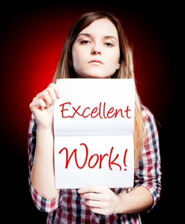 Excellent work, school exam and proud woman photo