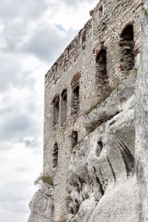 Medieval stone castle ruins on the rock, architectural illustration illustration