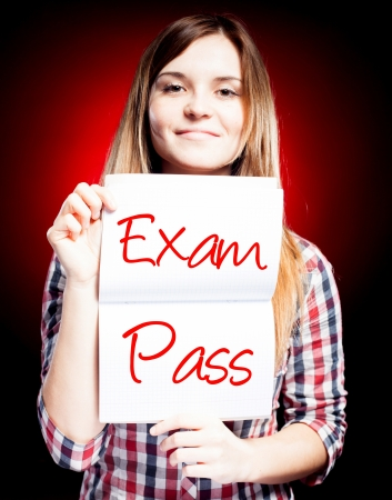 Passed test or exam and happy woman photo