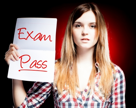 Passed test or exam and proud woman photo