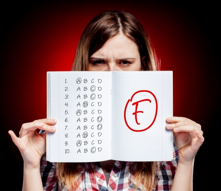 School grade of exam and disappointed woman photo