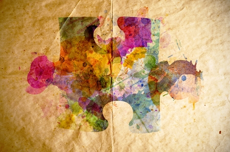 Watercolor puzzle on old paper background