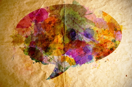 talks: Watercolor speech bubble on old paper background, concept talks Stock Photo