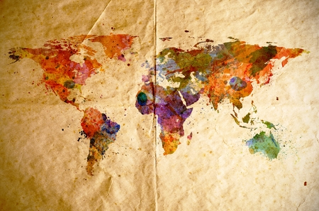 Watercolor world map on old paper background