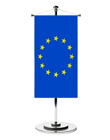 3d european union table flag isolated on white photo