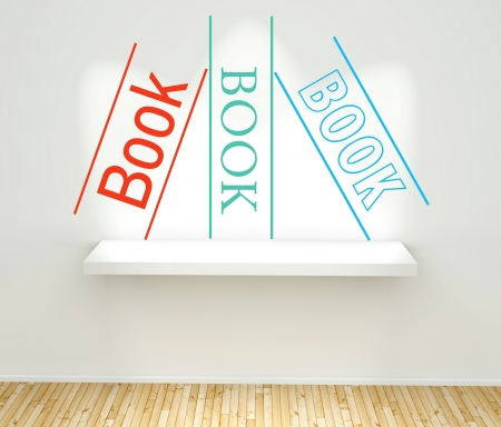 Books concept graphic on wall with book shelf photo