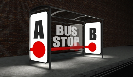 backlite: Bus stop concept with glowing billboard at night