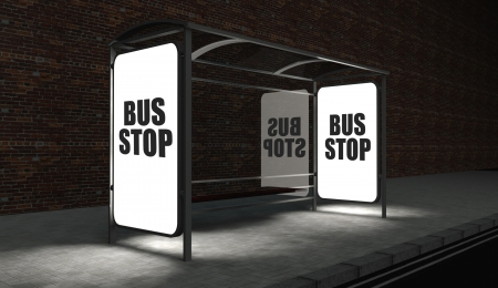 Bus stop concept with glowing billboard at night