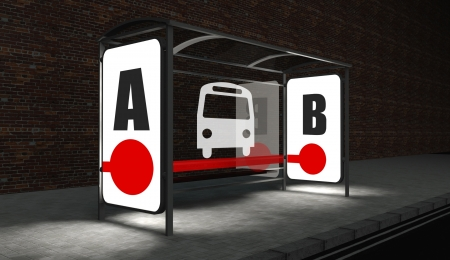 backlite: Bus stop with public transport concept at night