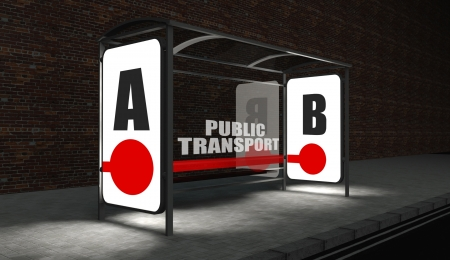 Bus stop with public transport concept at night