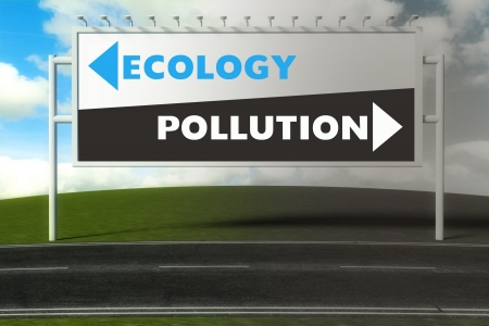 Conceptual direction signs lead to ecology or pollution, concept of choice photo