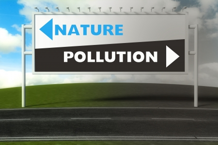 Conceptual direction signs lead to nature or pollution, concept of choice