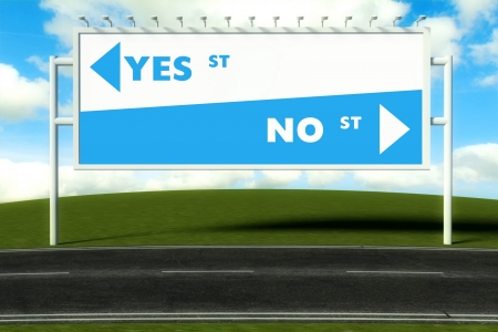 Conceptual direction signs lead to yes or no, concept of choice photo