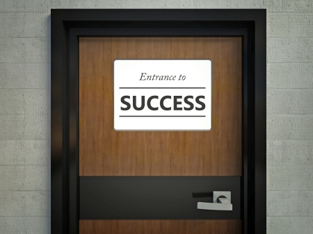 Entrance to success sign hanging on a office door photo