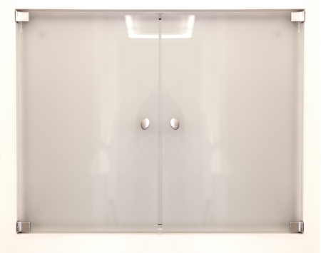 Frosted glass or plexiglass door isolated on white, background texture photo