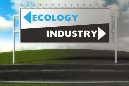 Conceptual direction signs lead to ecology or industry, concept of choice