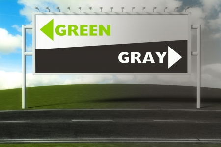Conceptual direction signs lead to green or gray, concept of choice Stock Photo