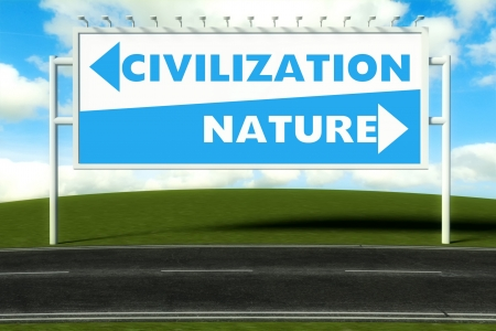 Conceptual direction signs lead to nature and civilization, concept Stock Photo