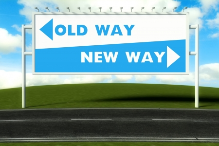 new path: Conceptual direction signs lead to old way or new path, concept Stock Photo