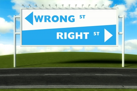 Conceptual direction signs lead to wrong or right, concept