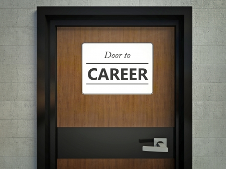 Door to career sign hanging at entrance to office photo