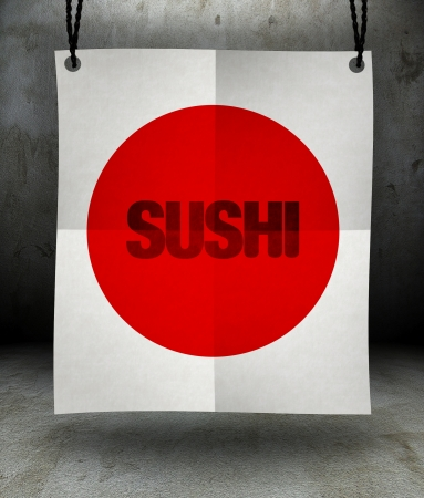 Japanese cuisine sushi menu paper poster hanging on a rope photo