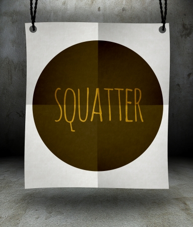 squatter: Squatter paper poster hanging on a rope