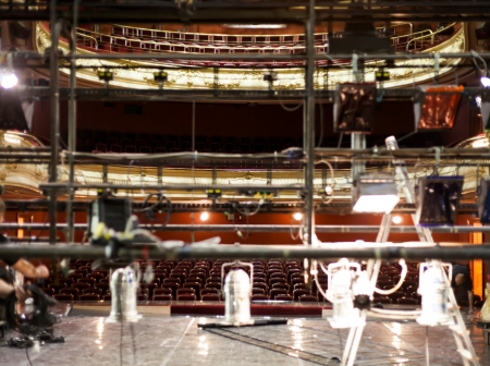 settle back: Theater scene in preparation, stage and the empty audience