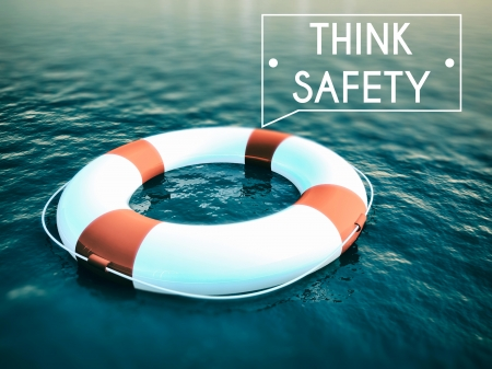 think safety: Think Safety sign, lifebuoy on rough water waves
