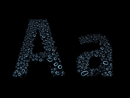 Water drops alphabet letter a, isolated on black