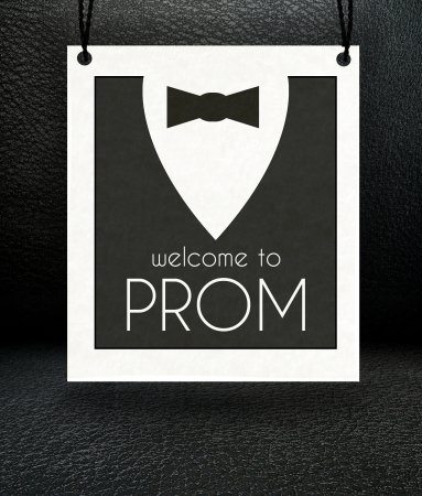 prom night: Welcome to Prom invitation poster, suit and bow tie