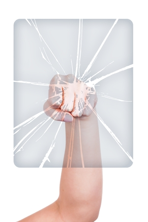 Woman's hand with fist breaking glass isolated white photo