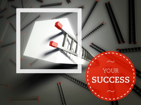 overcome: Your success with top of ladder, business unique concept Stock Photo