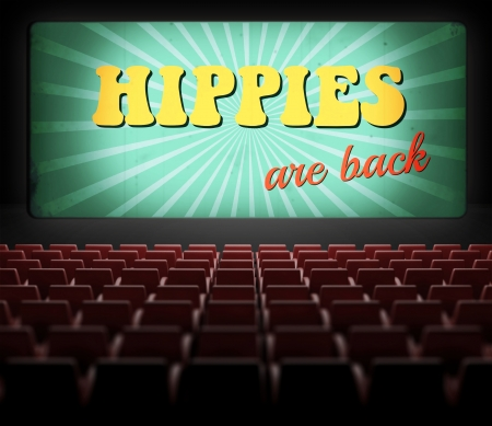 Hippies are back concept movie screen in old retro cinema photo