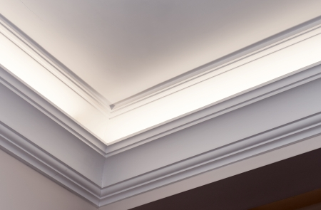 ceiling texture: Illuminated cornice, bright and clear interior background