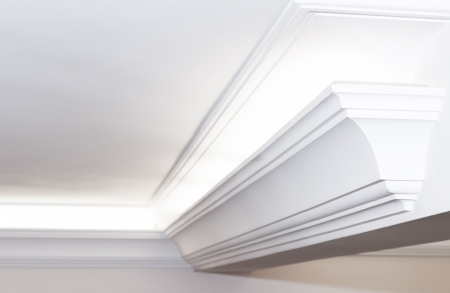 Illuminated cornice, bright and clear interior background