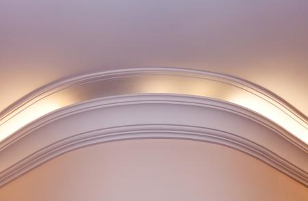 cornice: Illuminated cornice, bright and clear interior background