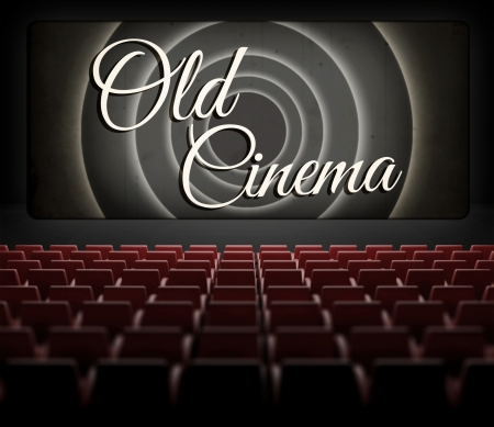 mistery: Movie ending screen in old retro cinema, view from audience
