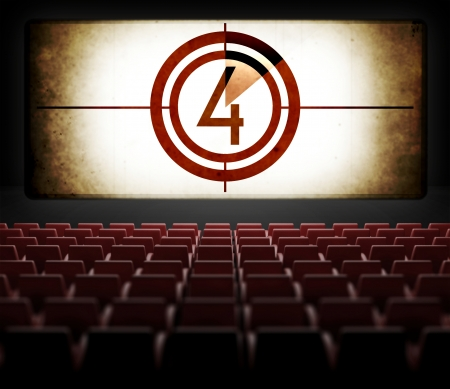 silent film: Movie Screen countdown in old retro cinema, view from audience