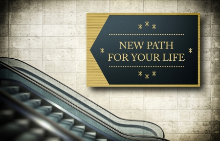 new path: Moving escalator stairs with new life path concept Stock Photo