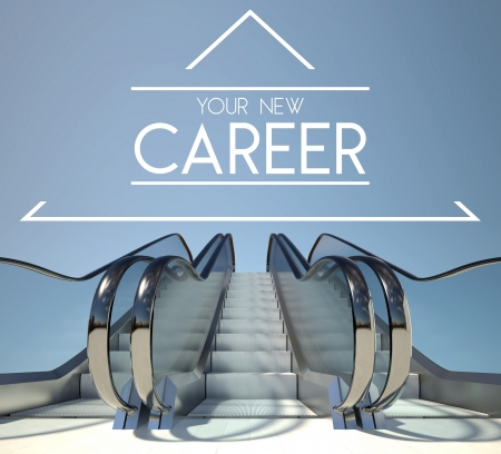 New career concept with stairs of success