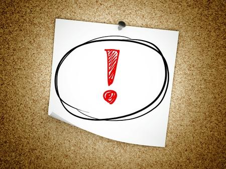 note of exclamation: Nota con el signo de exclamaci�n en el tablero de corcho