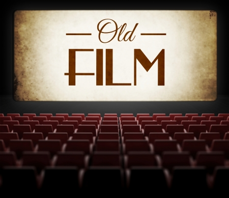 noire: Old film in vintage retro cinema, view from audience