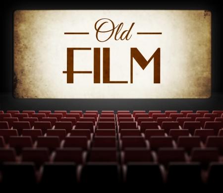 Oude film in vintage retro cinema, uitzicht vanuit het publiek