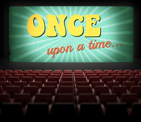 once: Once upon a time movie screen in old retro cinema, view from audience Stock Photo
