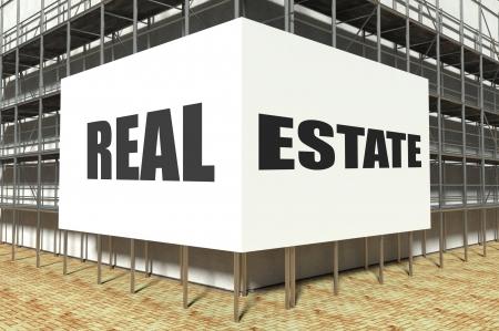 overbuilding: Real estate on scaffold advertising billboard